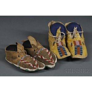 Two Pairs of Beaded Hide Child