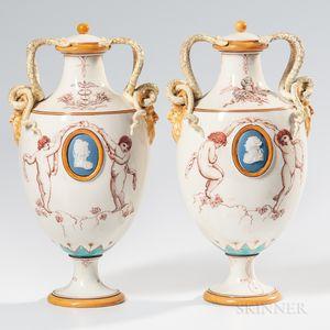 Pair of Wedgwood Emile Lessore Decorated Queen