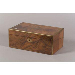 Edwardian Burl Walnut Brass Bound Lap Desk