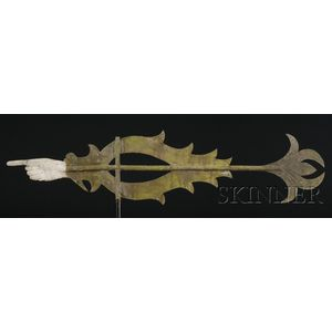 Cast Zinc and Sheet Copper Pointing Hand Banner Weather Vane