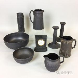 Nine Wedgwood Black Basalt Ceramic Items