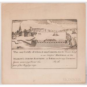 Revere, Paul (1735-1818) North Battery Restrike Plate.