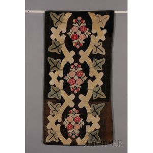 Three Hooked Rugs with Floral and Foliate Motifs