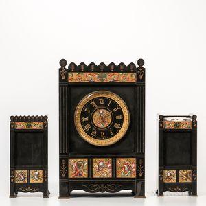 Gilt and Hand-painted Belgian Slate Clock Garniture Set