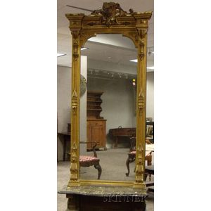 Victorian Renaissance Revival Giltwood and Gesso Corner Pier Mirror with Faux Marble   Shelf