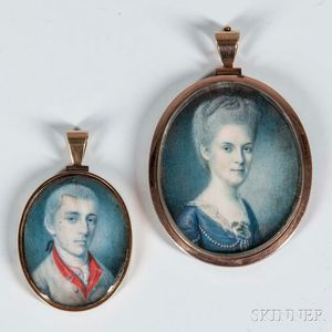 Pair of Association Miniatures of General Jacob Morris and Mary Cox Morris attributed to Charles Willson Peale (1741-1827).