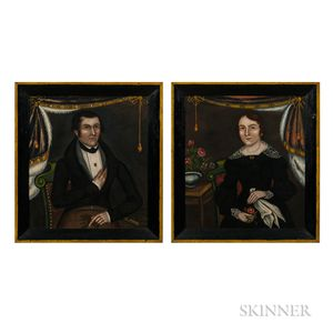 I. Gilbert (New York, act. Early to Mid-19th Century)      Portraits of a Man and Woman from Cazenovia, New York
