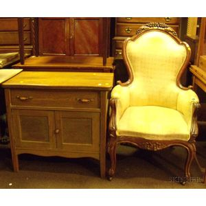 Victorian Upholstered Carved Walnut Parlor Armchair and a Late Victorian Oak Commode.