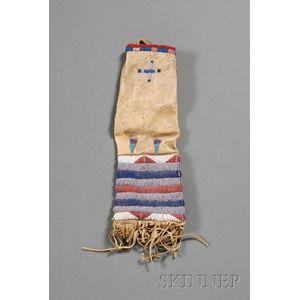 Plains Beaded Hide Pipe Bag