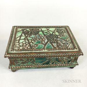 Art Nouveau Tiffany Studios Metal Overlay Green Slag Box