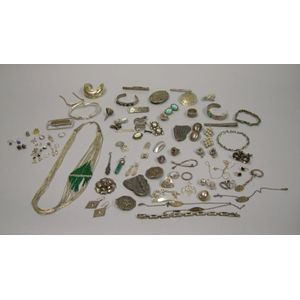 Group of Mexican, Arts & Crafts and Art Nouveau Silver Jewelry and Accessories.