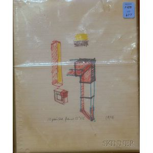 Norman Toynton (British, 20th Century)      Untitled [Drawing for Wood Frames]