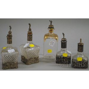 Five Continental Glass and Silver Decanters