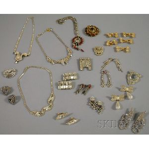 Small Group of Mostly Rhinestone and Paste Costume Jewelry