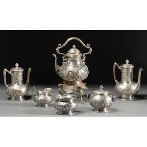 """Tiffany & Co. """"Ivy Chased"""" Six Piece Sterling Tea and Coffee Service"""
