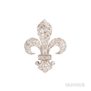 Edwardian Diamond Fleur-de-lis Pendant