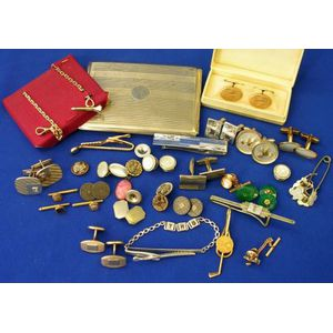 Assortment of Mens Accessories, Jewelry and Buttons.