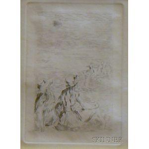 Framed Etching on Paper Sur La Plage, a Berneval