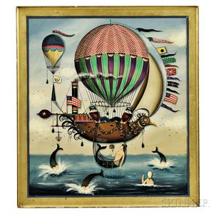 Ralph Cahoon (Massachusetts, 1910-1982)      Seascape with Hot-air Balloons, Airship, Sailors, and Mermaids