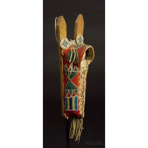 Southern Plains Beaded Cloth and Hide Model Cradle