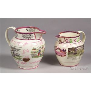 Two Sunderland Pink Lustre Transfer Decorated Pottery Jugs