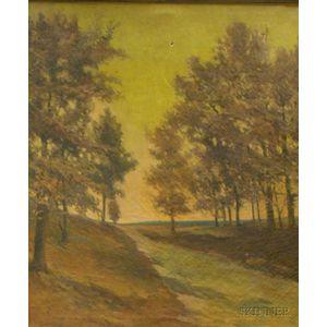 Oak Framed F.O. Brady Oil on Canvas Autumn Landscape