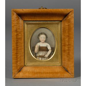 Anglo/American School, 19th century      Portrait of a Child Standing on a Chair.