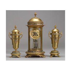 French Three Piece Gilt Metal and Champleve Enamel Moorish-style Clock Garniture