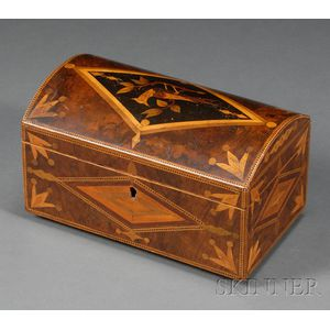 Inlaid Burl Veneered Trinket Box