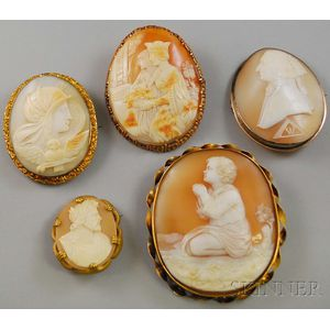 Five Assorted Shell-carved Cameo Brooches