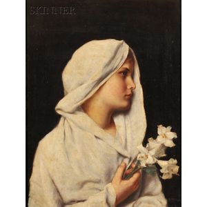 Alfred Seifert (Czech, 1850-1901)      Profile of a Young Woman, Draped in White, Holding a Lily
