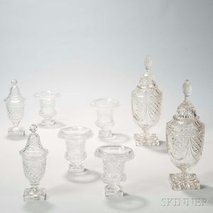 Eight Pieces of Irish Colorless Crystal Tableware