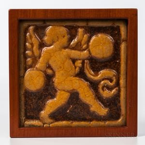 Grueby Faience Cupid with Cymbals Framed Art Tile