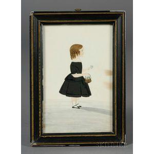 American School, 19th Century      Portrait of a Little Girl in a Black Dress Holding a Basket of Flowers.