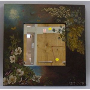 Polychrome Painted Floral Decorated Wood Framed Mirror