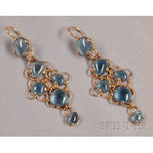 18kt Gold and Blue Topaz Earpendants, Pomellato