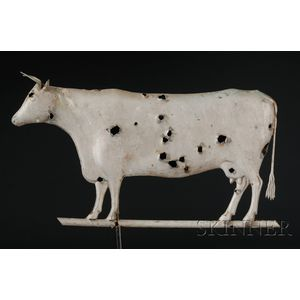 Silver-painted Molded Copper Cow Weather Vane