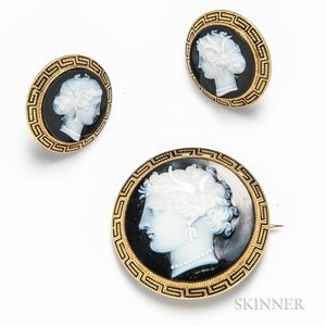 Antique 14kt Gold Cameo Suite