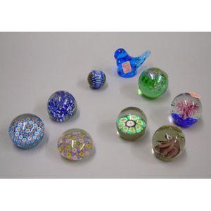 Eight Art Glass Paperweights and an Art Glass Figure.