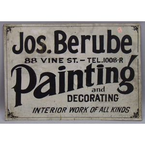 Painted Sheet Metal Trade Sign Jos. Berube, 88 Vine St., Painting & Decorating, Interior Work of all Kinds,e...