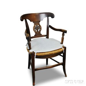 French Provincial Carved Fruitwood and Oak Rush-seat Armchair