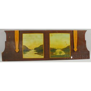 Polychrome Painted and Landscape-decorated Wooden Wagon Panel
