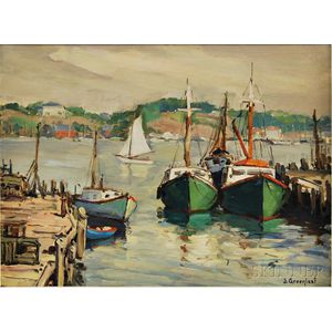 Jacob Greenleaf (American, 1887-1968)      Two Green Lobster Boats, Gloucester Harbor