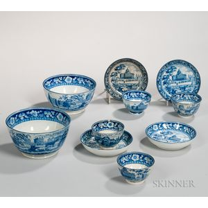 Ten Staffordshire Historical Blue Transfer-decorated Boston State House Table Items