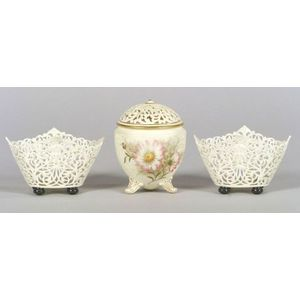 Three Reticulated Grainger & Co. Worcester Porcelain Items