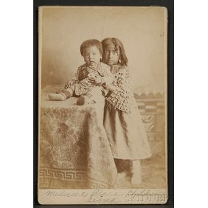 Cabinet Card of Two Sioux Indian Children