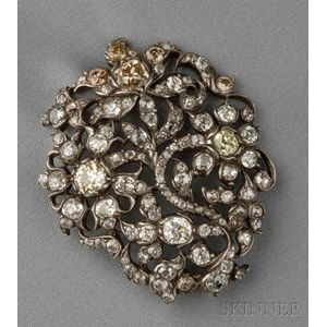 Antique Colored Diamond and Diamond Brooch