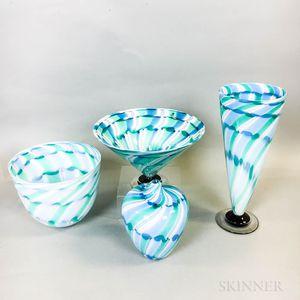 Four Charlie Meaker Studio Art Glass Pieces