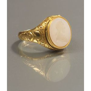 22kt Gold and Intaglio-carved Onyx George Washington Memorial Ring