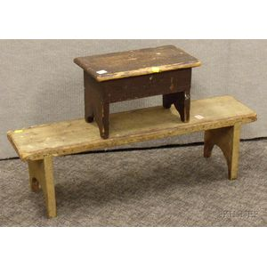 Mustard-painted Wooden Footstool and a Painted Wooden Cricket with Hinged Top